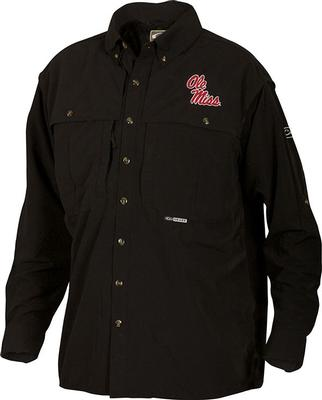 DRAKE OLE MISS LS VENTED WINGSHOOTER SHIRT BLACK