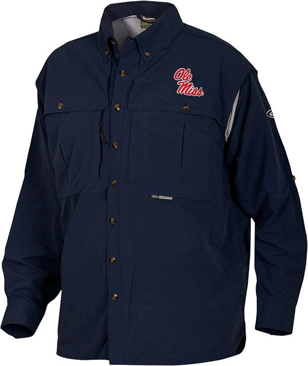 Drake Ole Miss Ls Vented Wingshooter Shirt
