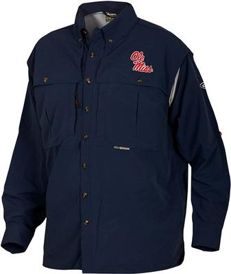 DRAKE OLE MISS LS VENTED WINGSHOOTER SHIRT NAVY