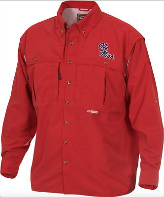 DRAKE OLE MISS LS VENTED WINGSHOOTER SHIRT RED