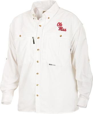 DRAKE OLE MISS LS VENTED WINGSHOOTER SHIRT WHITE