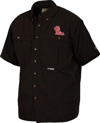 DRAKE OLE MISS SS VENTED WINGSHOOTERS SHIRT BLACK