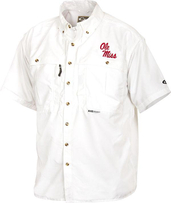 Drake Ole Miss Ss Vented Wingshooters Shirt