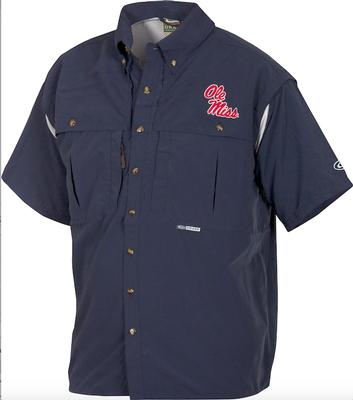 DRAKE OLE MISS SS VENTED WINGSHOOTERS SHIRT NAVY