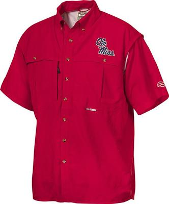 DRAKE OLE MISS SS VENTED WINGSHOOTERS SHIRT RED