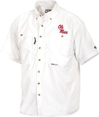 DRAKE OLE MISS SS VENTED WINGSHOOTERS SHIRT WHITE