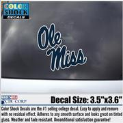 SCRIPT NAVY OLE MISS DECAL