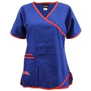 RED TRIM OM SCRUB TOP
