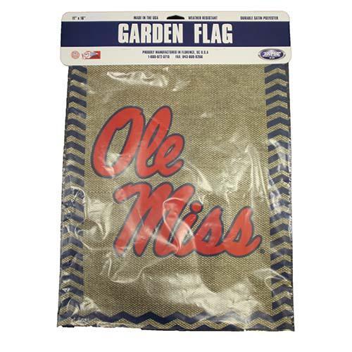 Ole Miss Burlap Garden Flag