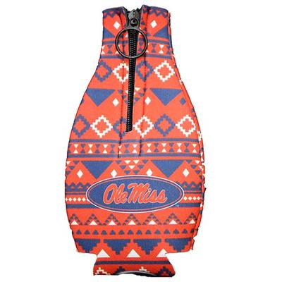 OM AZTEC ZIPPER COOZIE RED