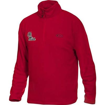 OLE MISS DRAKE CAMP FLEECE PULLOVER RED