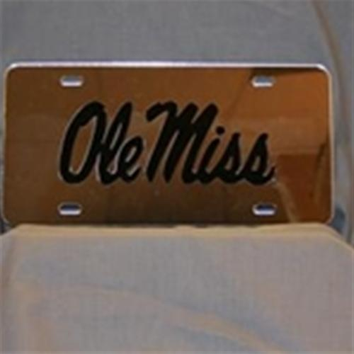 Etched Ole Miss Car Tag Silver