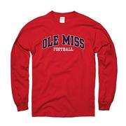 LS ARCHED OLE MISS REBELS TEE RED