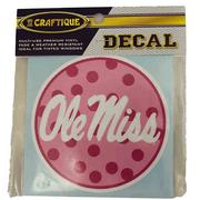 4IN PK POLKA DOT OLE MISS DECAL
