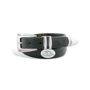 OLE MISS BLACK LEATHER CONCHO KEEPER BELT