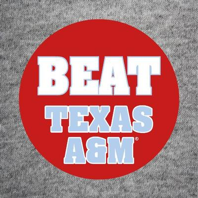 BEAT TEXAS A  M BUTTON RED