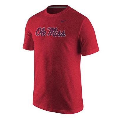 MENS TRIBLEND OM SCRIPT TEE RED_HEATHER