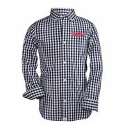TOD LOGAN LS GINGHAM SHIRT NAVY