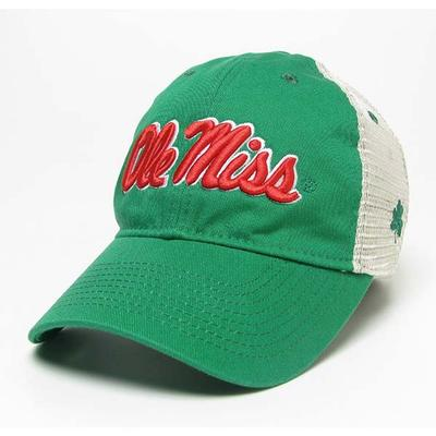KELLY GREEN CLOVER TRUCKER CAP
