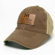 LEATHER PATCH TRUCKER CAP BROWN