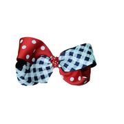 SMALL IZZY GINGHAM DOT BOW NVRD