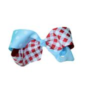 SMALL IZZY GINGHAM DOT BOW RDCB