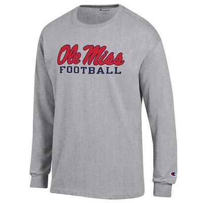 LS OLE MISS FOOTBALL TEE SHIRT OXFORD_GREY
