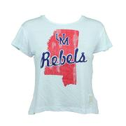 WOMENS UM REBELS MS CROP TEE