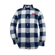 TOD NICHOLAS FLANNEL BUTTON-UP NAVY