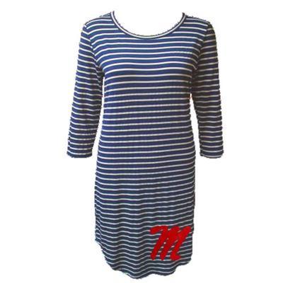 Piko Striped Curved Hem Dress