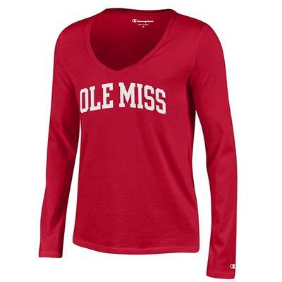 Ls Ole Miss University V Neck Tee