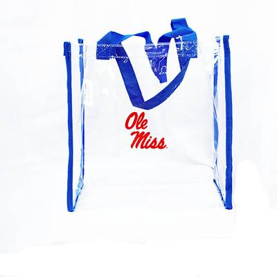 BLUE TRIM CLEAR STADIUM TOTE
