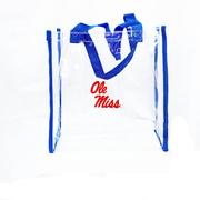 BLUE TRIM CLEAR STADIUM TOTE CLEAR