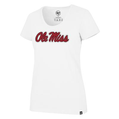 OLE MISS CLUB SCOOP TEE WHITE
