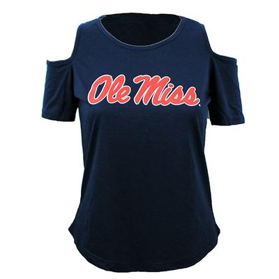OLE MISS COLD SHOULDER TEE NAVY