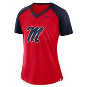 M COL W NIKE VNECK SS TOP