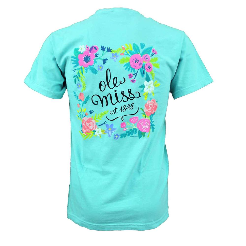 Ss Ole Miss Circle Flower Tee
