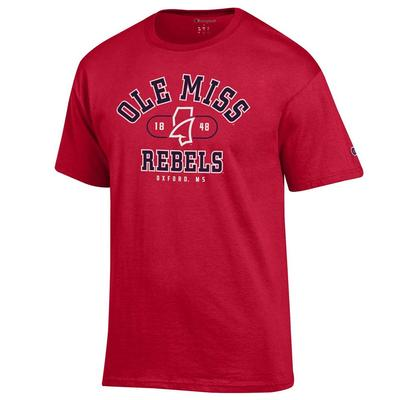 OLE MISS REBELS MS LANDSHARK BASIC TEE SCARLET