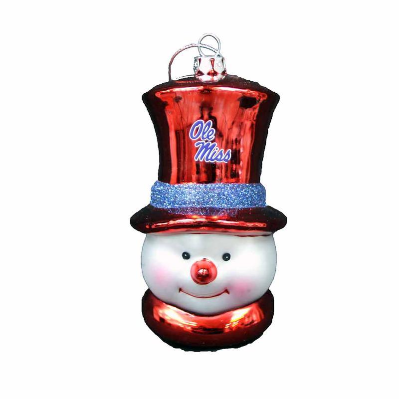 Om Snowman Glass Ornament
