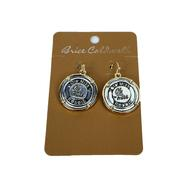 OM ANTIQUED COIN EARRING SET