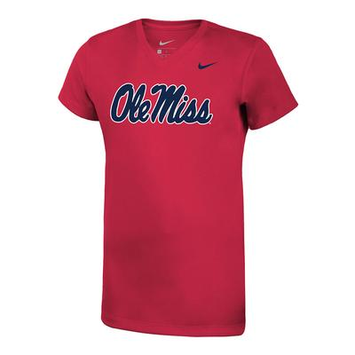 GIRLS OLE MISS LEGEND TEE RED