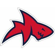 4IN BLUE RED SHARK DECAL