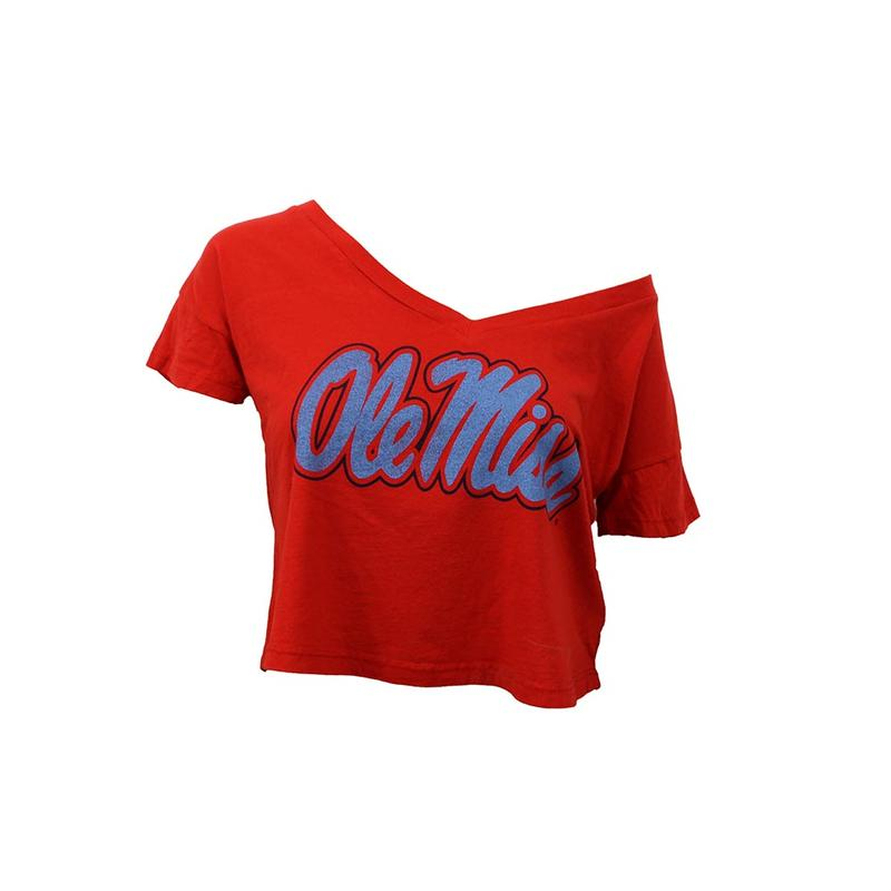 Ole Miss Crop V Neck Tee