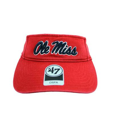 MENS OLE MISS CLEAN UP VISOR RED