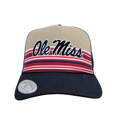 OLE MISS STRIPE TRUCKER CAP