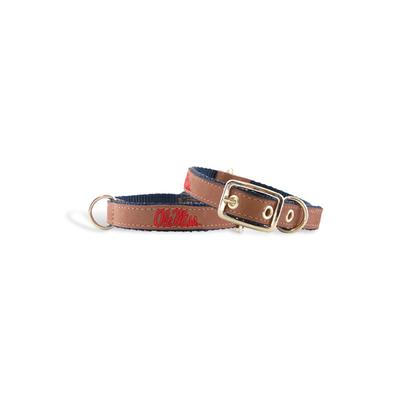 LEATHER OLE MISS DOG COLLAR
