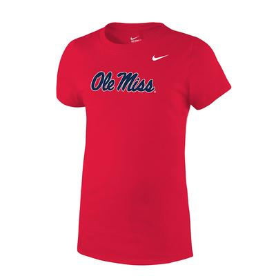 GIRLS OLE MISS CORE TEE RED
