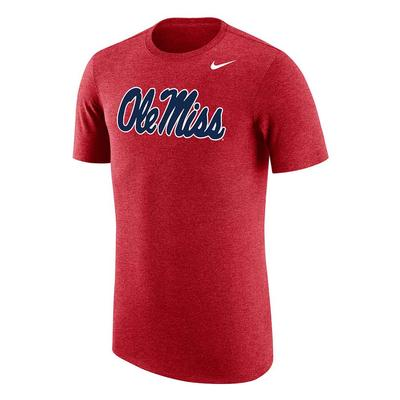 SCRIPT OLE MISS TRIBLEND TEE HEATHER_RED