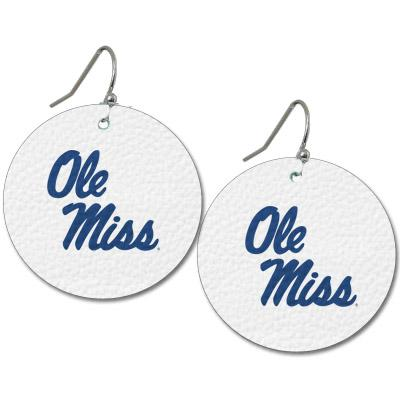 OLE MISS LEATHER EARRINGS