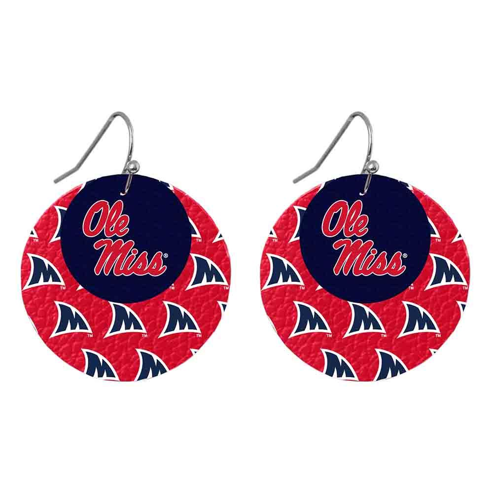 Ole Miss M Fin Leather Layered Earrings